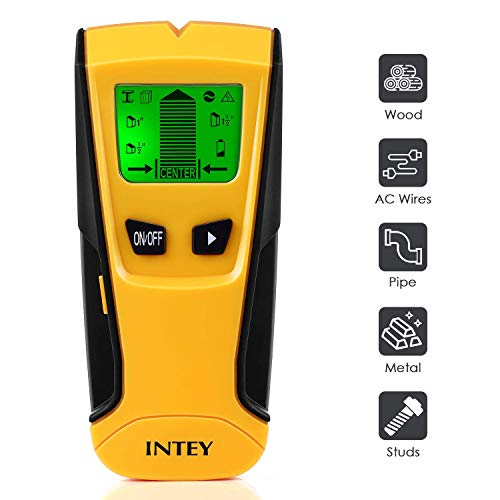INTEY Détecteur Numérique Détecteur de Matériaux/Construction 3 en1 Electrique Multi-fonction Stud Scanner avec écran LCD et Bip Sonore, Détecteur Métal/Tension/Bois (Jaune)