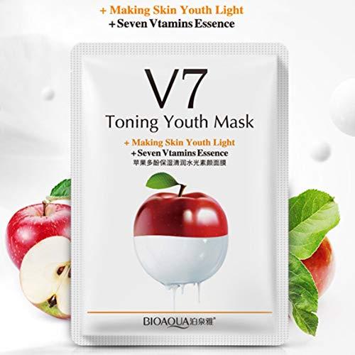 BIOAQUA Obst V7 Toning Jugend Gesichtsmaske Moisturizing Oil Control Feuchtigkeitsspend Pflegende Gesichtsmaske Wrapped Maske Hautpflege (Obst Jugend)