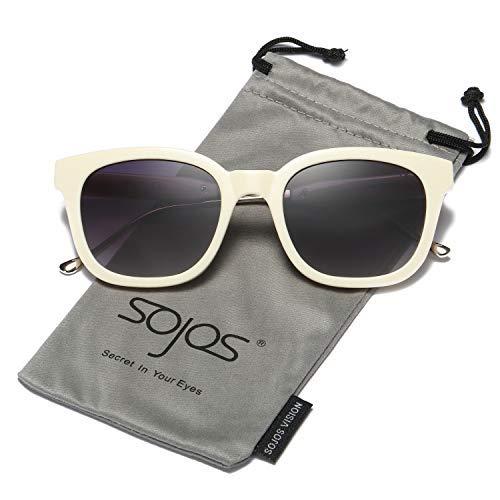 SOJOS Fashion Rechteckig Polarisierte Sonnenbrille Damen Herren in Mode SJ2050 mit Beige Rahmen/Grau Linse