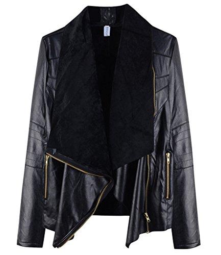Minetom Mujer Chaqueta Moto Delgado Ajuste Zip Imitacion Piel Invierno Biker Abrigos con capucha Negro ES 48