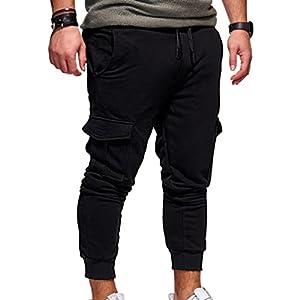 Männer Freizeit Mode Tether Elastisch Tasche Sport Hosen Freizeit Hosen Einfarbig Fitness Hosen Khaki/Schwarz/Dunkelgrau/Hellgrau/Army Green