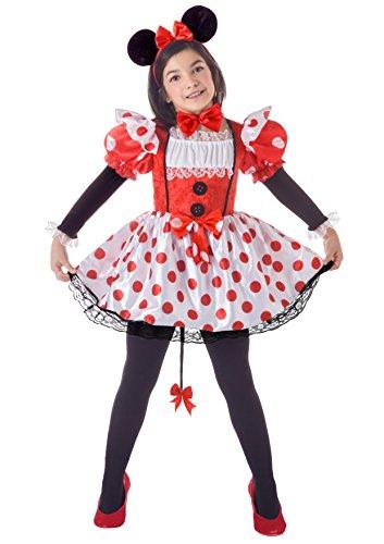 FIORI PAOLO 23044-Topina disfraz niña, 7-9años, color rojo/blanco