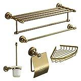 QMM Bad-Accessoires, Bad Zubehör-Set, 5-Stück-Gold Antique Eloxieren Aluminium Hardware Set
