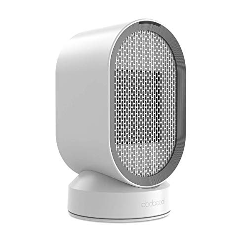 dodocool Mini Ventilador Eléctrico/Calefactor Eléctrico bajo Consumo, Portátil Ventilador Calefactor PTC Cerámica, Calefactor Aire Frio y Caliente,Oscilación Automática