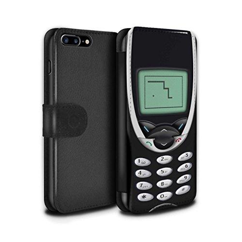STUFF4 PU-Leder Hülle/Case/Tasche/Cover für Apple iPhone 8 / Hellgrün Nokia 8210 Muster / Vintage Handys Kollektion Schwarzes Nokia 8210