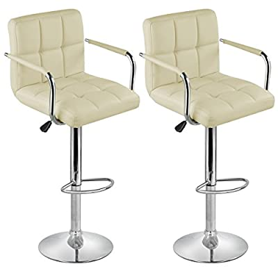 Tinxs Black Executive PU Leather Swivel Chair Gas Lift for home office Breakfast Dinner Bar Stool(2pcs)