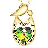 ENGSWA Damen Halskette mit Gravur Mutter Kind Kette Anhänger Herz Kristallen von Swarovski Eingelegt von LEKANI Mutter Geschenk für Mama