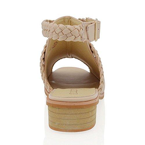 Essex Glam Scarpa Donna Peep Toe Pelle Sintetica Tacco Basso Cinghia Posteriore Carne Pelle sintetica