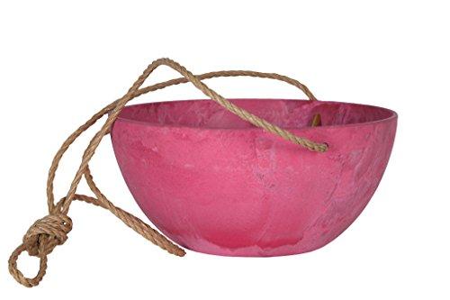 Artstone Pflanzgefäß Blumenampel Fiona, frostbeständig und leichtgewichtig, Pink, 25x12cm