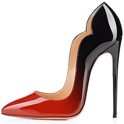 uBeauty Escarpins Femmes Chaussures Stiletto Soles Rouge Talon Aiguille Grande Taille Laçage rose noir