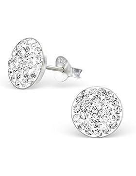 Kristall Ohrstecker Ohrringe 925 Silber weiß flach rund 10mm für Damen und Mädchen