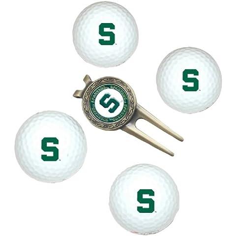 NCAA Michigan State 4-Pack Team Golf Ball Gift (Michigan State Divot)