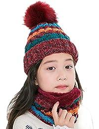 Bonnet Bébé Garçon Chaud Crochet Tricot Pompon en Coton pour Hiver Automne  Chapeau Enfant Protection Oreille ... 2dfa1ad0949