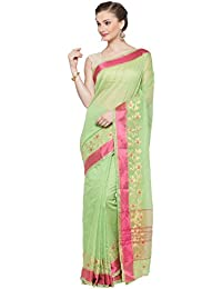 Kvsfab Women's Green & Pink Cotton Silk Saree [KVSSR21026SHIMAYA_2]