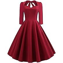 Vestido de Invierno Mujer Vintage, Moda Mujer sólido con Cuello en V Espalda