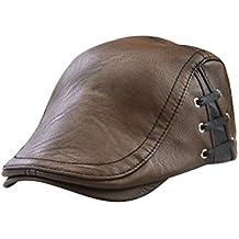 Tinksky Casquillo plano de los hombres Casquillo de cuero de la PU de la  vendimia Casquillo cb7ef01f641