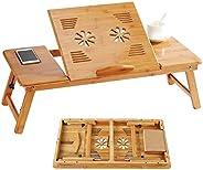 طاولة لابتوب قابلة للطي مصنوعة من خشب البامبو وحامل مكتب وصينية بارتفاع قابل للتعديل بزاوية امالة مع فتحة تهوي
