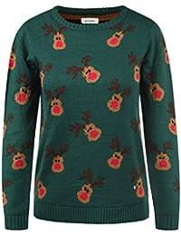 BlendShe Christel Damen Weihnachtspullover Winter Pullover Strickpullover Weihnachtspulli mit Rundhalsausschnitt
