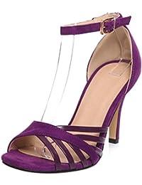 TAOFFEN Mujer Moda Peep Toe Sandalias Tacon De Aguja Al Tobillo Fiesta Zapatos