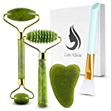 Jade Roller and Gua Sha Tool Set 4 in 1 | Effective Anti-aging Beautiful Skin Detox Reduces Wrinkles Massages Face Eyes & Neck to Achieve Beautiful Skin | Original Natural Jade Stone Kit