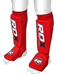 RDX–Espinilleras Soporte fortsatz para deportes de lucha, satra Certificado–Espinilleras, todo el año, unisex, color rojo, tamaño small