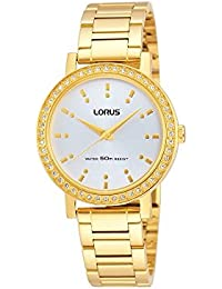 Lorus Stone Set Silver Dial Gold Plated Stainless Steel Bracelet Ladies Watch RG220JX9