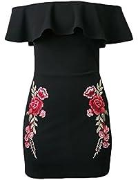 Frauen Sommer Kleid Etuikleider Cocktailkleid Kurz Elegant Boot Hals Eng  Rückenfrei Stretch Taille Blumendrucken A- ea6f161a20