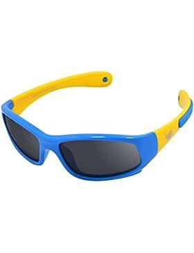Kinder Wrap Sport Polarisierte Sonnenbrille von WHCREAT Flexibel Gummirahmen mit Anti-Rutsch Band für Mädchen...