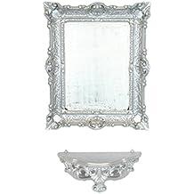 Consola Repisa + Espejo Plata Plateado arredamento pared entrada Artificial Vintage Louis XVI