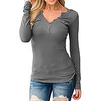 Luckycat Las Mujeres Atractivas Blusa Camiseta con Cuello en V de Manga Larga botón tee Ladies Casual Slim Tops