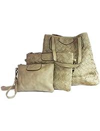0f531a600552c La Loria Damen Taschen Sets Weave Beuteltasche Henkeltasche Umhängetasche  geflochten