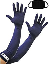 Cotson Women's Dust and Sun Protection Gloves with Pollution Mask (Navy Blue, Free Size)