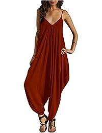 Monos Y Vestidos De Mujer Fiesta Largos Verano Jumpsuits Cuello En V De Tirantes Holgados Harem Pantalones Vino Rojo XL