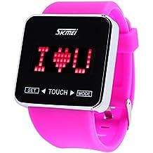 PIXNOR SKMEI impermeable táctil pantalla niños niñas deporte reloj Casual LED Digital con retroiluminación (Rosy)