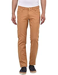 Blue Buddha Men's Brown Cotton Slim Fit Trouser