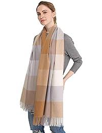 Longwu Donna Morbida sciarpa in lana di cashmere Grande scalda Pashminas e  avvolgente coperta con stola 962726153d78