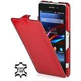 StilGut UltraSlim, funda exclusíva en piel auténtica para el Sony Xperia Z1 Compact, rojo