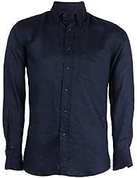 Camisa manga larga 100% lino azul