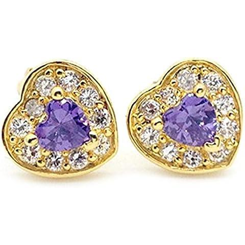 Placcato oro 18K, zirconia cubica, con Zirconia cubica a forma di cuore oro orecchini per le donne