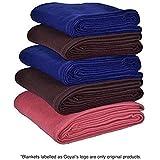 Goyal's Fleece 250 TC Single Bed Blanket- Set of 5 (Blue,Brown, Red)