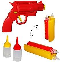 """Set: Senf & Ketchup - Spender - """" Hotdog + Pistole """" - Sauce / Saucenspender - Flasche Ketschupspender - Gastro - Grillen / Senfspender - Quetschflasche lustig - Dosierflasche für Sossen - Kunststoff Sossenspender Hot Dog"""