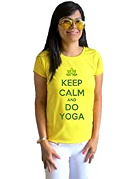 LetsFlaunt Keep Calm and Do Yoga T-shirt T-shirt Girls Yellow Dry-Fit Nw