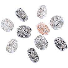 Souarts Mixte Perles Intercalaires avec Strass Blanc pour Bracelet Breloque Lot de 10pcs