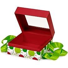 BULK Hip Holiday MEDIUM Pres.BoxesSQUARE Box w / Ribbon 5-3 / 4x5-3 / 4x3 (1 unidad, 24 paquetes por unidad)