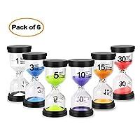 Reloj de arena con temporizador de arena y reloj de arena, 6 colores, 1 min/3 minutos/5 minutos/10 minutos/15 minutos/30 minutos (6 piezas)
