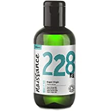 Naissance Aceite Vegetal de Argán de Marruecos BIO n. º 228 - 100ml - Puro, natural, vegano, certificado ecológico, sin hexano y no OGM - Hidratación natural para el cabello.