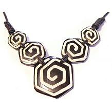 Collana Corno OS etnica tribale gioielli ciondolo dimensioni regolabile spirale Horn Bone Necklace Nero Bianco