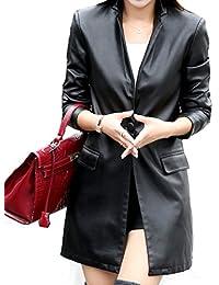 Helan Mujeres Larga simple botón único de la chaqueta de la PU de la capa de cuero de cuero