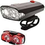 Dark Horse Bicycle 4 Mode LED Front Light & Horn And 3 Mode 1 Watt Twin Eye Rear Light Combo, Black And Red