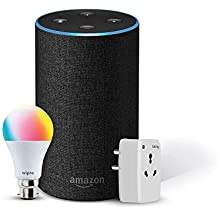 Amazon Echo (Black) Bundle with Oakter 16A smart plug & Wipro 9W smart bulb